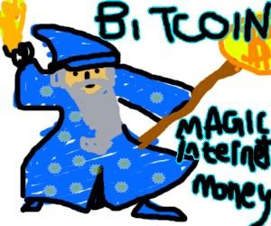 """Ein einfach gemalter Zauberer, neben dem die Worte """"Bitcoin Magic Internet Money"""" stehen."""